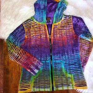 Rising International Womens Tie Die Razor Cut Jacket